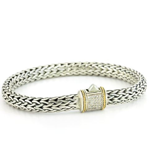 Diamond Sterling Silver Woven Bracelet with 18K Gold Accents