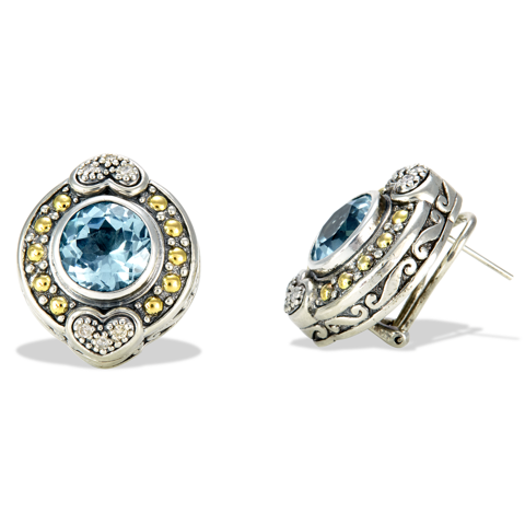 Sterling Silver Blue Topaz and Diamond Earrings with 18K Gold Accents