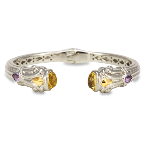 Citrine and Amethyst Sterling Silver Bangle with 18K Gold Accents