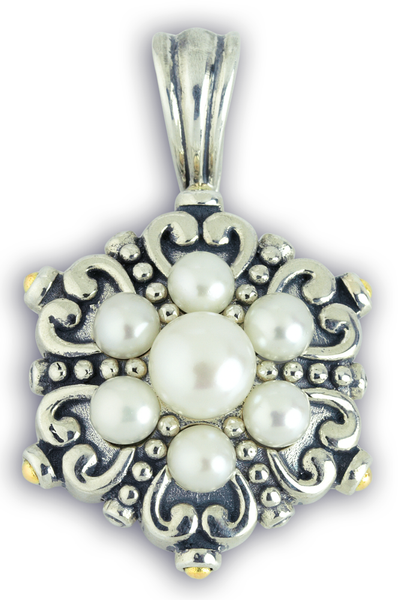 Freshwater Pearl Sterling Silver Pendant with 18K Gold Accents