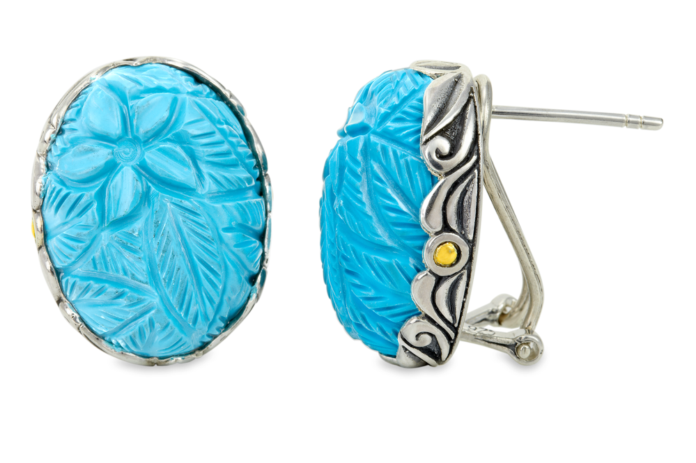Carved Turquoise Sterling Silver Earrings with 18K Gold Accents