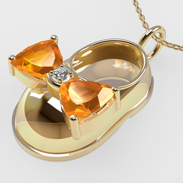 14K Yellow Gold Diamond and Citrine Baby Shoe Pendant