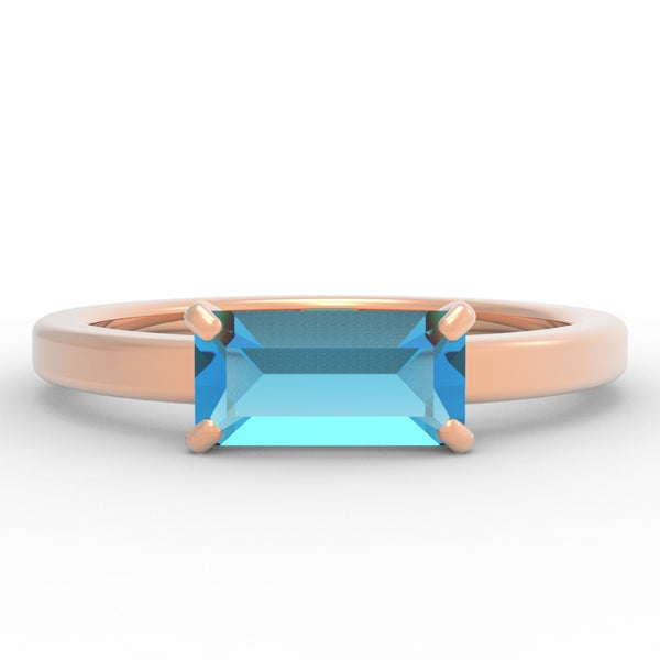 Blue Topaz Baguette 14K Rose Gold Ring