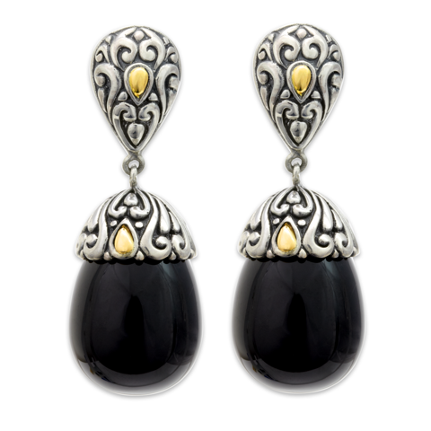 Black Onyx Sterling Silver Drop Earrings with 18K Gold Accents