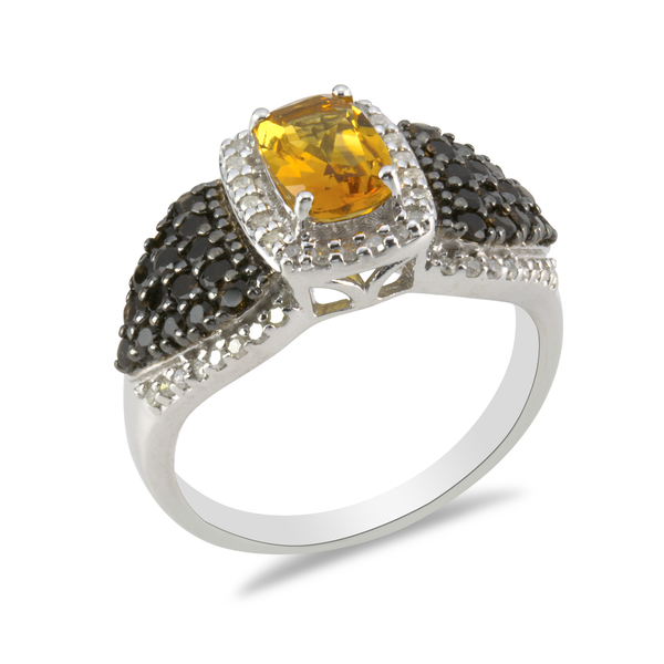 Diamond and Citrine Sterling Silver Ring with 18K Gold Accents