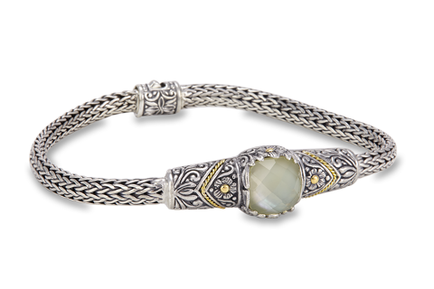 Mother of Pearl and Lemon Quartz Doublet Sterling Silver Woven Bracelet with 18K Gold Accents