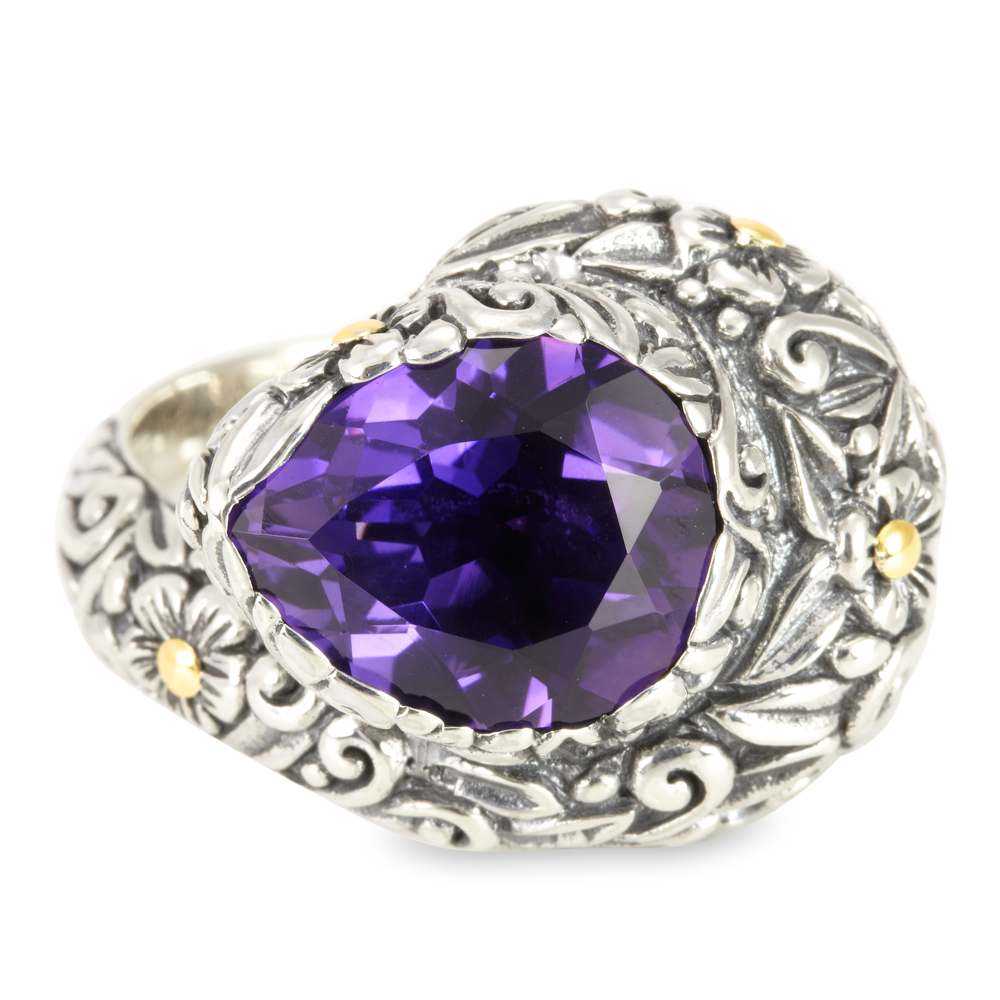 Amethyst Sterling Silver Ring with 18K Gold Accents