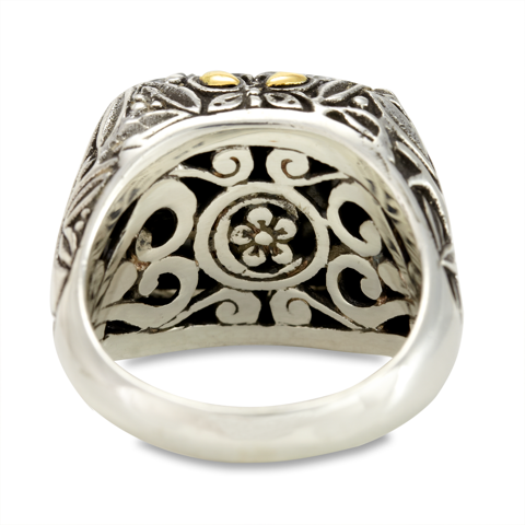 "Carved Hematite and White Crystal Ring Set in Sterling Silver & 18K Gold Accents ""Gwen"""