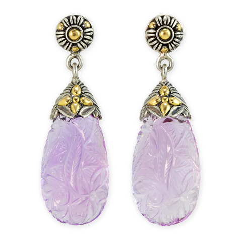 "Carved Pink Amethyst Sterling Silver Briolette Earrings with 18K Gold Accents ""Lynn"""