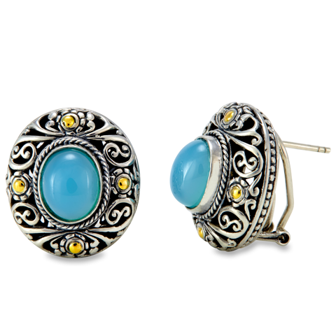 Cabushon Chalcedony Earrings Set in Sterling Silver & 18K Gold Accents