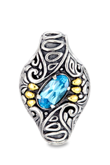 Blue Topaz Pendant Set in Sterling Silver & 18K Gold Accents