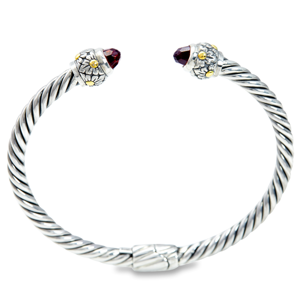 Garnet Twisted Cable Bangle with Garnet Gemstones