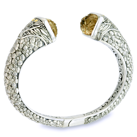 "Carved Citrine Sterling Silver Bangle with 18K Gold Accents ""Michelle"""