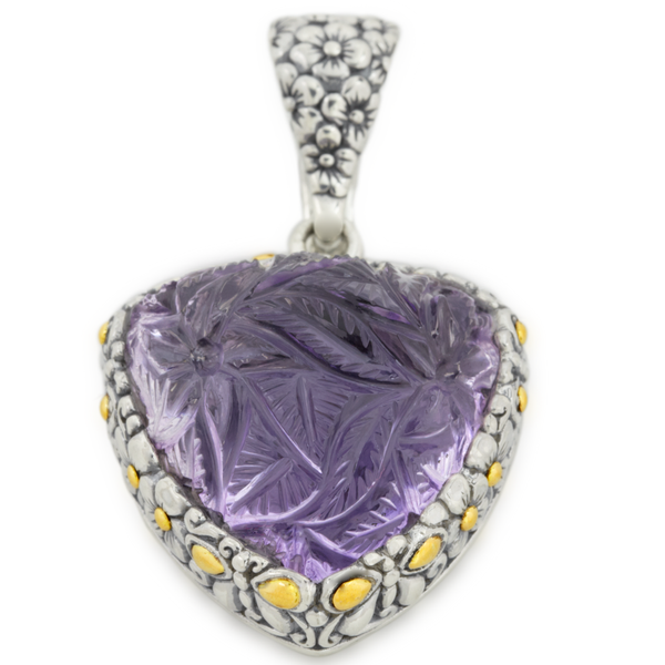 Carved Pink Amethyst Sterling Silver Pendant with 18K Gold Accents