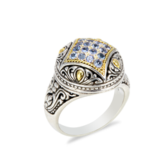 Sterling Silver Tanzanite Ring with 18K Gold Accents