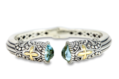 Blue Topaz Bangle Set in Sterling Silver & 18K Gold Accents