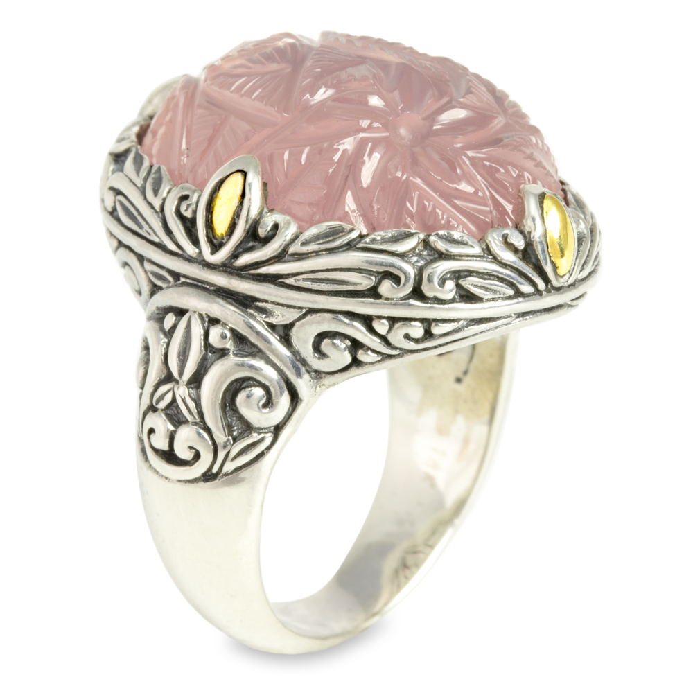 Carved Rose Quartz Sterling Silver Ring with 18K Gold Accents