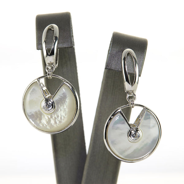 Sterling Silver Mother of Pearl and CZ Crystal Earrings