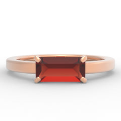 Garnet Baguette 14K Rose Gold Ring