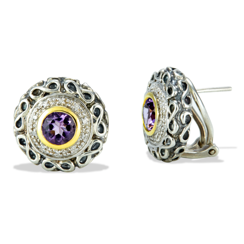 Sterling Silver Amethyst and Diamond Earrings with 18K Gold Accents