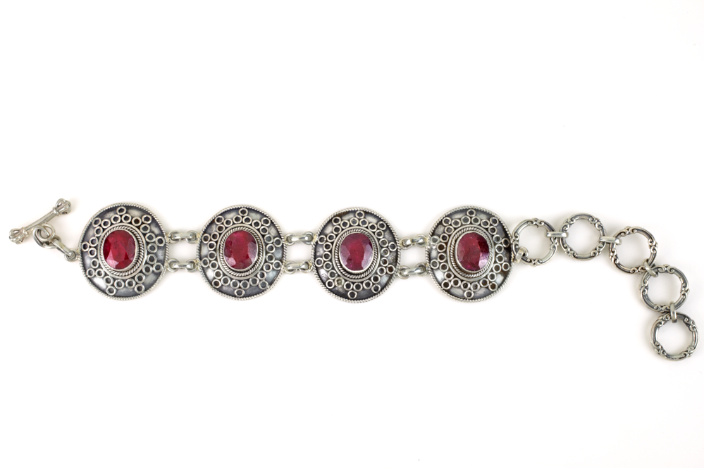 Ruby Bracelet Set in Sterling Silver
