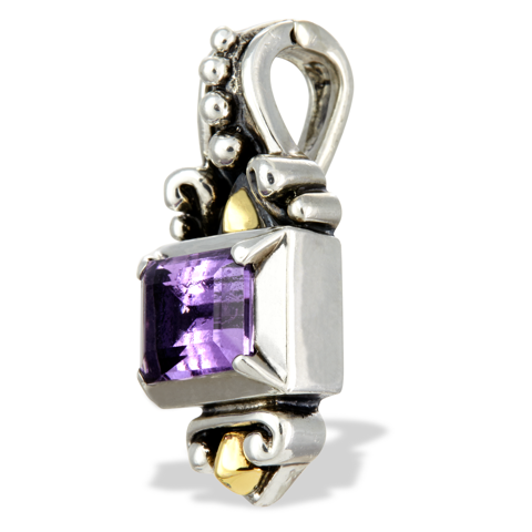 Amethyst Sterling Silver Pendant with 18K Gold Accents
