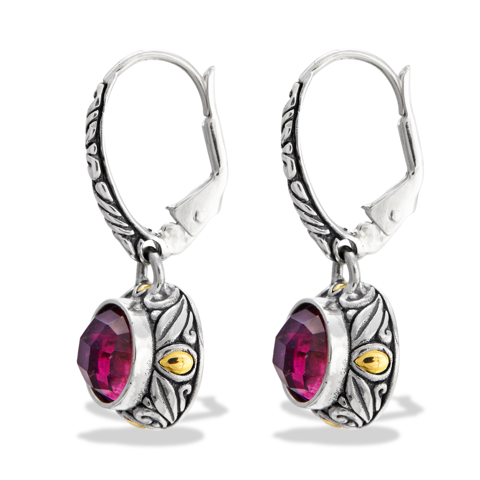 Pink Tourmaline Sterling Silver Earrings with 18K Gold Accents