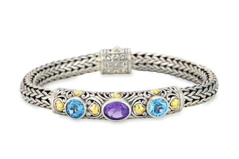 Blue Topaz and Amethyst Woven Sterling Silver Bracelet with 18K Gold Accents