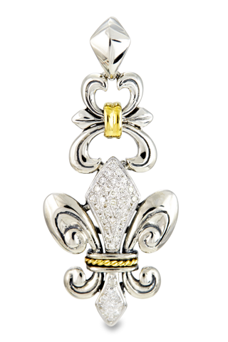 Diamond Fleur De Lis Sterling Silver Pendant with 18K Gold Accents