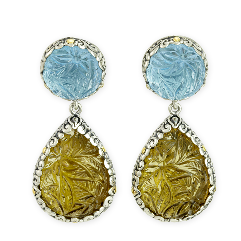 "Carved Citrine and Blue Topaz Earrings Set in Silver and Yellow Gold Accents ""Debbie"""