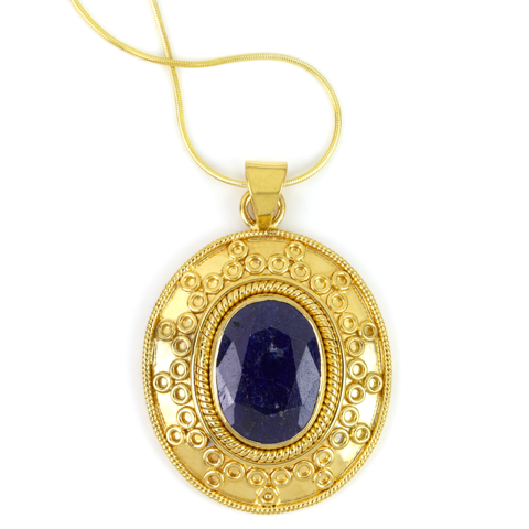 Blue Sapphire Pendant Set in Gold Plated Silver