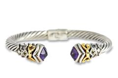 Amethyst and Citrine Bangle Set in Sterling Silver & 18K Gold Accents