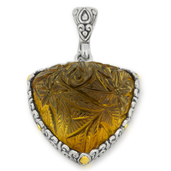 Carved Citrine Sterling Silver Pendant with 18K Gold Accents