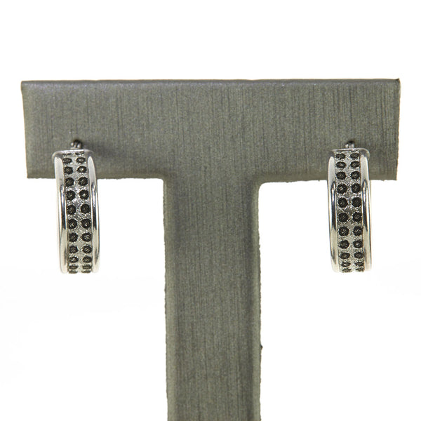 Silver Black Diamond Illusion Hoop Earrings