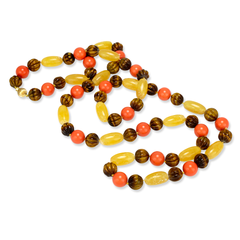 Yellow Jade, Red Coral and Tiger Eye Beaded Necklace