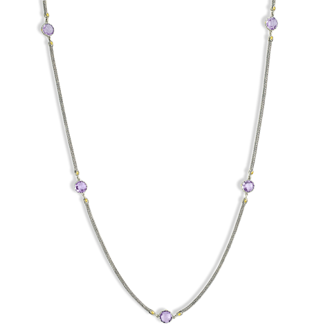 Amethyst Sterling Silver Woven Station Necklace with 18K Gold Accents
