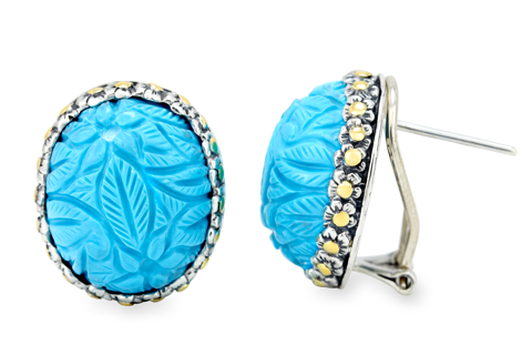 "Carved Turquoise Gemstone Earrings Set in Silver and Yellow Gold Accents ""Nakita"""