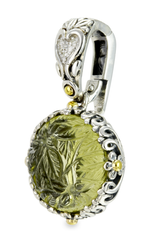 Carved Lemon Quartz Sterling Silver Pendant with 18K Gold Accents