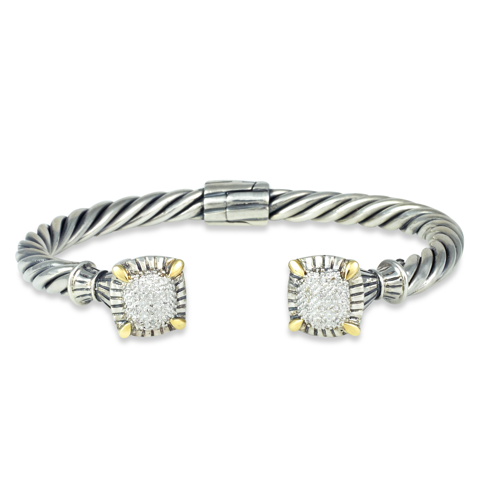 Diamond Sterling Silver Twisted Cable Bangle with 18K Gold Accents