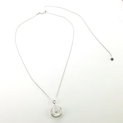 Sterling Silver Mother of Pearl and CZ Crystal Pendant with Adjustable Chain