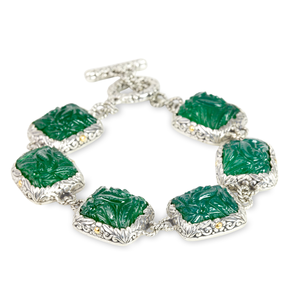 "Carved Green Onyx Bracelet Set in Sterling Silver & 18K Gold Accents ""Danielle"""