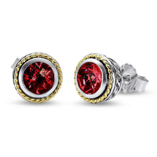 Garnet Sterling Silver Earrings with 18K Gold Accents
