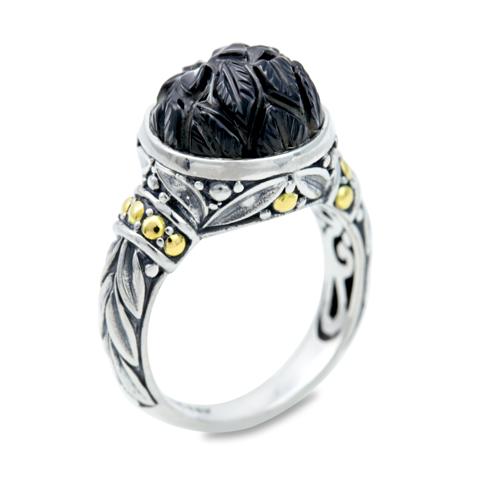 "Carved Black Onyx Ring Set in Sterling Silver & 18K Gold Accents ""Christina"""