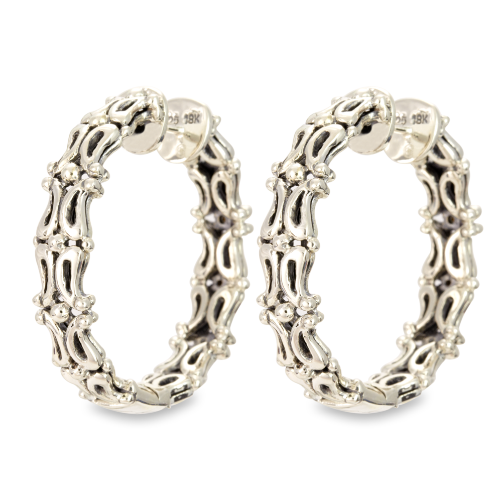Sterling Silver Hoop Earrings with Diamond and 18K Gold Accents