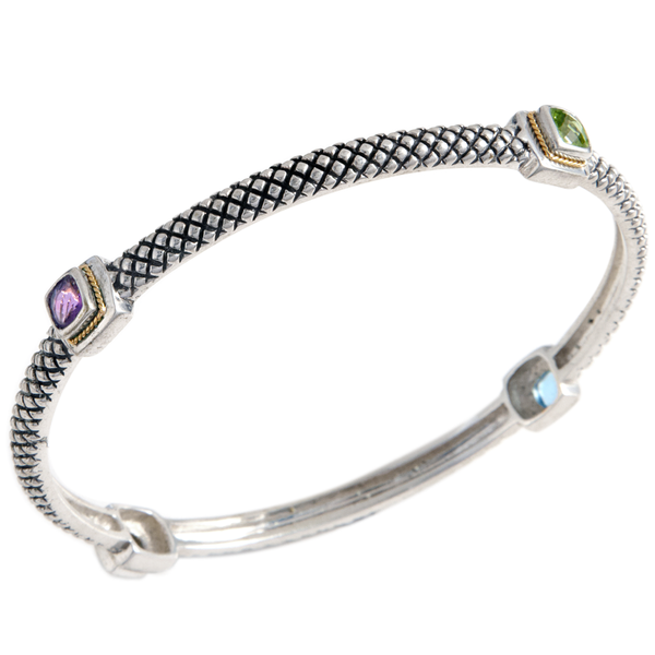 Multi Gemstone Bangle Set in Sterling Silver & 18K Gold Accents