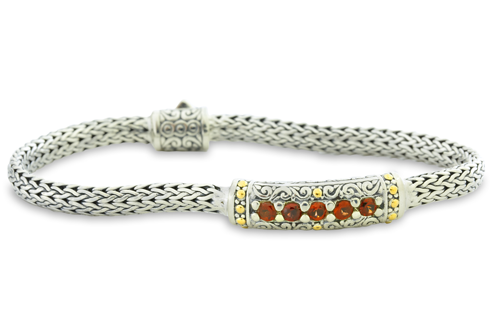 Garnet Sterling Silver Woven Bracelet with 18K Gold Accents