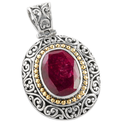 Ruby Sterling Silver Pendant with 18K Gold Accents