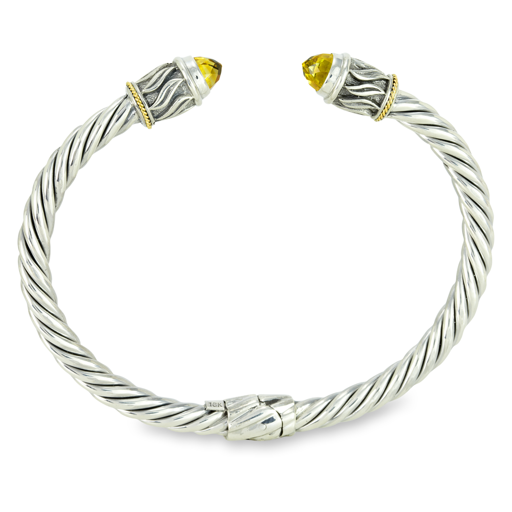 Citrine Sterling Silver Twisted Cable Bangle with 18K Gold Accents