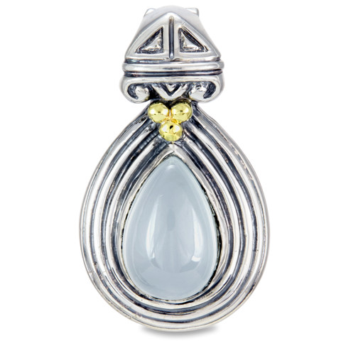 Milky Aqua Sterling Silver Pendant with 18K Gold Accents