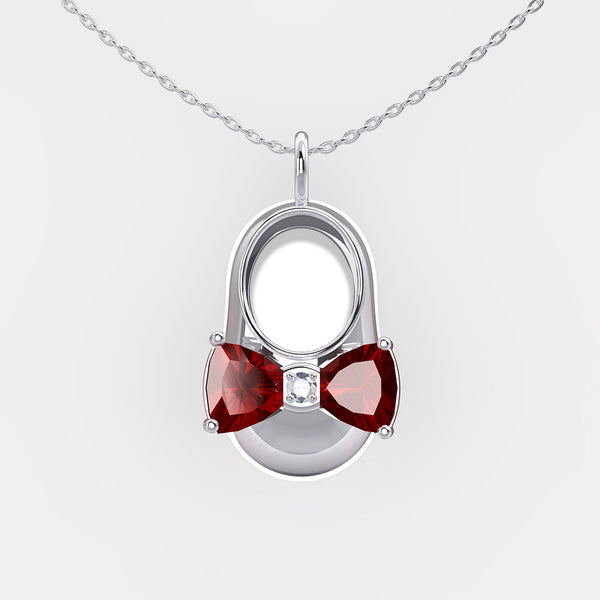 14K White Gold Diamond and Garnet Baby Shoe Pendant